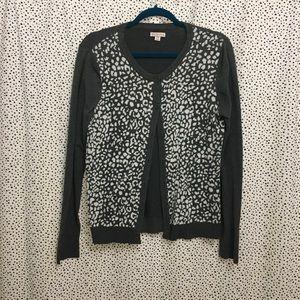 Grey leopard print cardigan